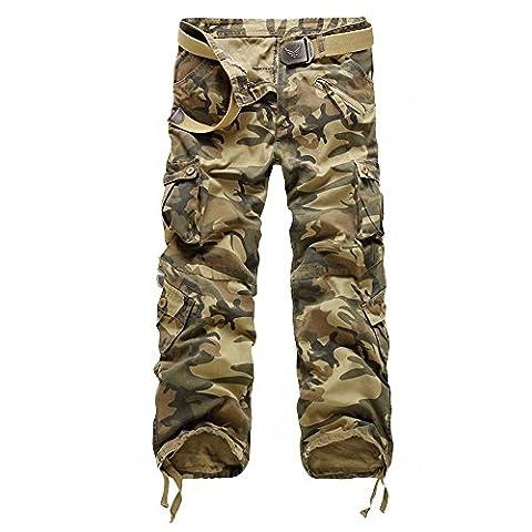 Minetom Vintage Cool d'été Homme style militaire Cargo Shorts Sports de combat Casual Pantalon ( Camo jaune 2 FR 46 (Waist 90-94cm)