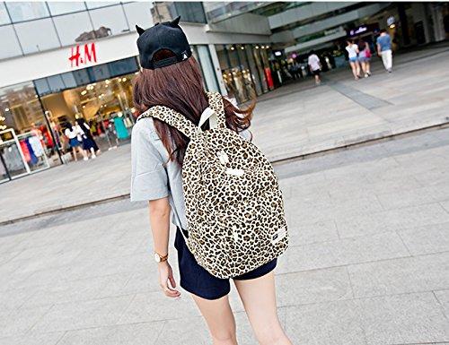 Yimidear zaino zainetto donna casuale leopardo selvaggio per viaggio outdoor sport palestra Marrone