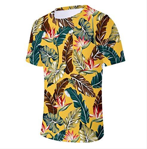 3D Gedruckte T-Shirts Handgezeichnete Blumen Und Blätter Männer Kompressionshemd Raglan Kurzarm Kostüm Schnell Trocknend Kleidung Tops Männlich -L