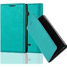 Nokia Lumia 435 Funda Estilo Libro de Cuero Sintético en TURQUESA PETROL de Cadorabo (Diseño IMÁN INVISIBLE) – Cubierta Protectora con Cierre Magnético, Tarjetero y Función de Suporte – Protección Carcasa Caja Etui Case Cover
