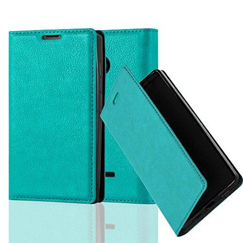 Cadorabo Hülle für Nokia Lumia 435 - Hülle in Petrol TÜRKIS – Handyhülle mit Magnetverschluss, Standfunktion und Kartenfach - Case Cover Schutzhülle Etui Tasche Book Klapp Style