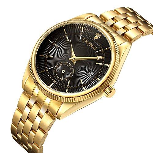 Uhren Herren Luxus Marke Herren Sport Uhren wasserdicht Full Stahl Gold Schwarz Quarz Herren-Armbanduhr
