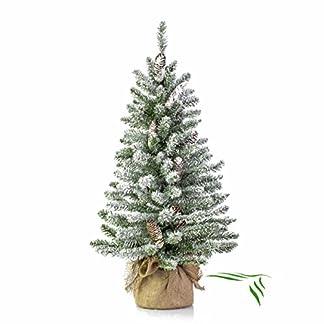artplants.de Mini árbol de Navidad Artificial Viena en Saco de Yute, nevado, 90cm, Ø 50cm – árbol sintético – Planta Artificial