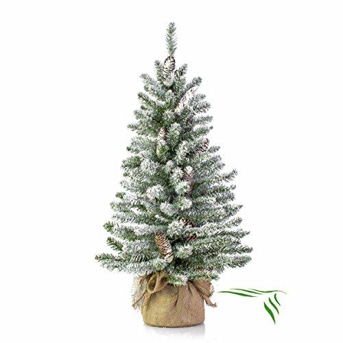 Mini albero di Natale VIENNA in sacco di iuta, innevato, 90 cm, Ø 50 cm - Abete artificiale / Albero tessile - artplants
