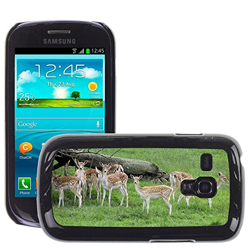 Grand Phone Cases Bild Hart Handy Schwarz Schutz Case Cover Schale Etui // M00141444 Fallow Deer Herde Park Weibliche Grass // Samsung Galaxy S3 MINI i8190 - S3 Handy Deer Case Galaxy Samsung