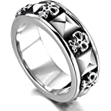 MunkiMix Stainless Steel Ring Band Silver Black Skull Pyramid Gothic Biker Men
