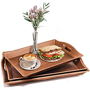 Set of 3 Serving Trays w/Handle Nesting Breakfast Plastic Serving Trays Afternoon Tea Tray Decorative Rectangular Display Tray Set Nested Food Butler Tray for Kitchen Party Dinner Snack (Bronze)
