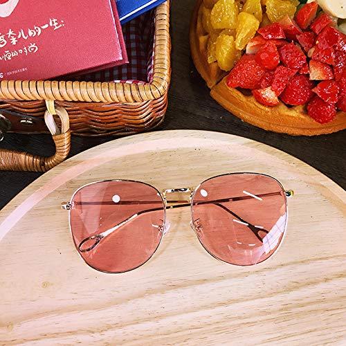 Sommer neue Sonnenbrille einfache große Kiste koreanische Version des Trends transparentes Gesicht kleine Männer und Frauen Sonnenbrille Sonnenbrille Sonnencreme Sonnenbrille Goldrahmen grau, hellros