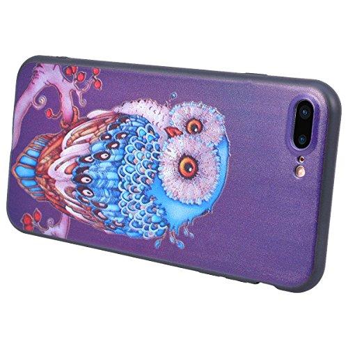 Yokata iPhone 7 Hülle Weiche Silikon Handyhülle 3D Motiv Schutzhülle TPU Handy Tasche Schale Etui Weich Silicone Bumper Ultra Dünn Slim Schlank Matt Handytasche Premium Kratzfest Soft Flexible Clear B Eule