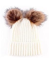 I LOVE DIY Bonnet Pompon Bebe Garcon Fille Chapeaux Tricoté Enfant Hiver  Mignons avec 2 Pompon b5e01017dc4