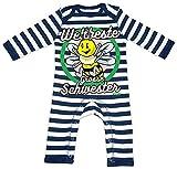 HARIZ Baby Strampler Streifen Weltbeste Grosse Schwester Biene Baby Kinder Plus Geschenkkarte Navy Blau/Washed Weiß 12-18 Monate