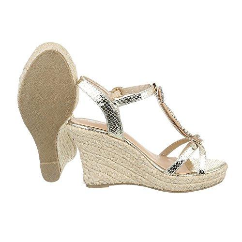 Damenschuhe Plateau Sandalen mit Keilabsatz/Wedge Keilabsatz Schnalle Sandalen/Sandaletten (39 EU, Gold)