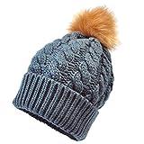 kingko® Kids Baby Neugeborene Baby Niedliche Wintermütze Strickwolle Hemming Hut mit Pelzball Baby Hüte mit hübschen Strick Wollmütze (Dunkelgrau)