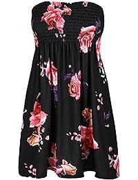 Be Jealous Womens Ladies Bandeau Boobtube Ruched Floral Rose Sheering Swing Mini Dress Top UK Plus Size 8-22