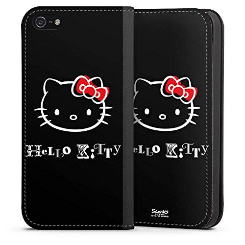 DeinDesign Leder Flip Case kompatibel mit Apple iPhone 5s Tasche Hülle Hello Kitty Merchandise Fanartikel Love