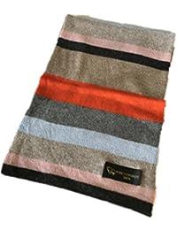 Prettystern - Damen Mädchen 100% Kaschmir mehrfarbig bunte Streifen langer Regenbogen kuschelig Schal