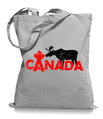 Ma2ca® Canada Moose Elch Stoffbeutel Jutebeutel Tasche Tragetasche / Bag WM101 Light Grey