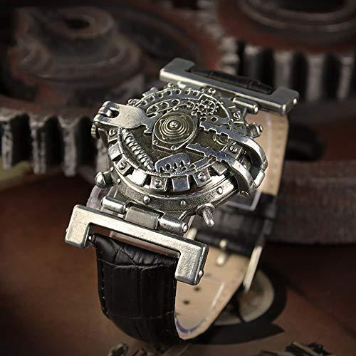 FELICIOO Reloj De Cuarzo De La Personalidad Unisex Estilo Punky Del Vapor (Color : Negro)