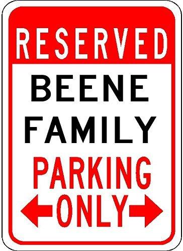 VINMEA Schild aus Aluminium, Motiv: Beene Family Parking - personalisierter Nachnamen, 17,8 x 25,4 cm