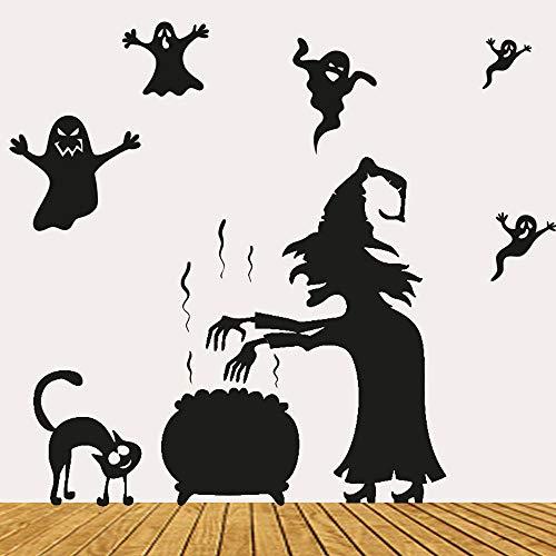 (Yongqiang Halloween Wandaufkleber Umweltfreundlich Abnehmbare PVC Wasserdichte Fensteraufkleber Wanddekoration Teufel Party DIY Aufkleber 57 * 70 cm)