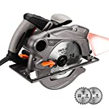 Circular Saw 1500W 4500 RPM Tacklife PES01A Electric Saw with 185mm Blades, Laser Guide, Adjustable Cutting Depth (0-63mm) and Bevel Angle(0-45 °), Lightweight Aluminum Guard and Dust Extraction