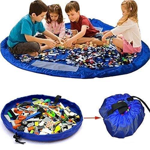 Bolsa de Juguete, King Do Way para Lego Estera del Juego Bolsa Portátil los Niños Bolsa de Almacenamiento Azul