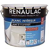 Renaulac Peinture intérieur Murs & Plafonds Bicouche Acrylique Blanc Mat 10L - 100m²...