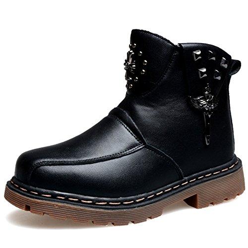 Jovens Botas De Couro No Tornozelo Suaves Eixo Curto Zipper Confortáveis sapatos Inverno Quente Negros