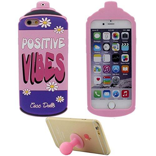 Coque Housse de Protection pour Apple iPhone 6 6S 4.7 inch Doux Silicone Case Anti choc 3D Crème glacée Forme Cyan avec 1 Silicone Kickstand rose