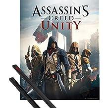 Póster + Soporte: Assassin's Creed Póster Mini (50x40 cm) Unity, Cover Y 1 Lote De 2 Varillas Negras 1art1®