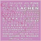Deko-Panel, Motiv: Smile, Sprüche, Texte, Wandbild, Wandpaneel, Wanddekoration, Wandgestaltung, Wanddeko, Kunstdruck, Zitat, 50x50 cm, pink