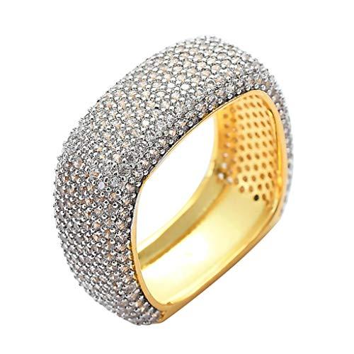 Männer Hip Hop AAA + Zirkon Ring Kupfer Bling Gold Iced Voll CZ Quadrat Ringe Mode Hochzeit Schmuck Geschenk,Gold,10 (Cz Verlobungsring Quadrat)