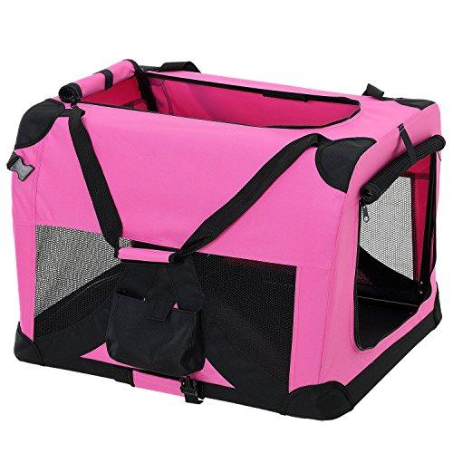[pro.tec] Hundetransportbox (pink - faltbar) Gr. S