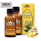2 PCS Drainage lymphatique Huile de gingembre Thérapeutique Grade huile de massage...