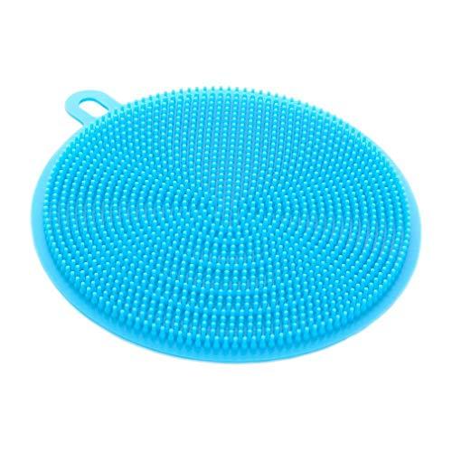 Bobopai Silicone Scrubber, Silicone Multipurpose Kitchen Scrub Brush for Dish Pot and Veggies Fruit Non-Stick Pan (A-Blue) Pot Scrub