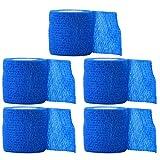 Healifty 5pcs 5x5cm Vendas Autoadhesivas Wrap Tape Stretch Athletic Cinta de Primeros Auxilios elástica Fuerte (Azul)