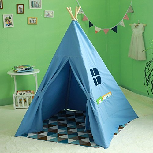 WMAOT Kid's Blue Authentic Giant Canvas Indian Teepee Tripod Play Tent (outdoor indoor playhous)