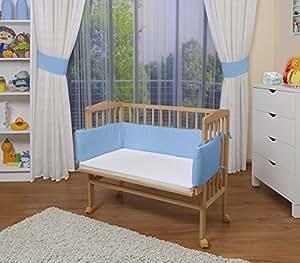 WALDIN Baby Beistellbett mit Matratze und Nestchen, höhen-verstellbar, 16 Modelle wählbar, Buche Massiv-Holz natur unbehandelt,blau