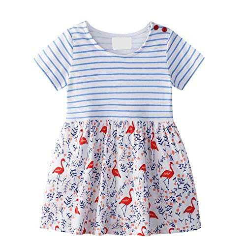 Kleines Mädchen Kleid Kurzarm Baumwolle Cartoon Tier Streifen Applique Flamingo Muster Kleid Kind Mädchen Baumwolle T-Shirt 1-8 Jahre Alt (Blau) -
