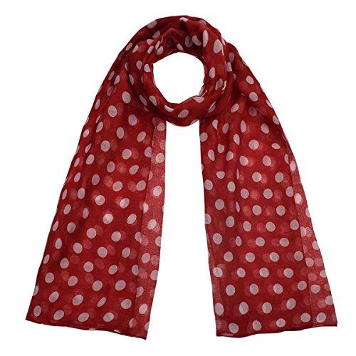 Übergroßer, klassischer Schal,50er Jahre, Retro, Punkte, leicht, weiche Viskose, wertet jedes Outfit auf, für den Alltag, Herren und Damen Gr. Einheitsgröße, Red / White Dot