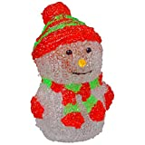 LED Weihnachtsfigur Schneemann 17 cm Acryl Batteriebetrieb Farbauswahl , Ausfuehrung:grün-rot gestreifte Mütze