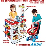 AKSH -Battery Operated Super Market With Cash Register Pretend Play Set (Big Super Market Set With Shopping Basket & Cash Register)