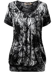 DJT Femme T-shirt Haut agreable Casual Tops Col rond Plisse Manches courtes