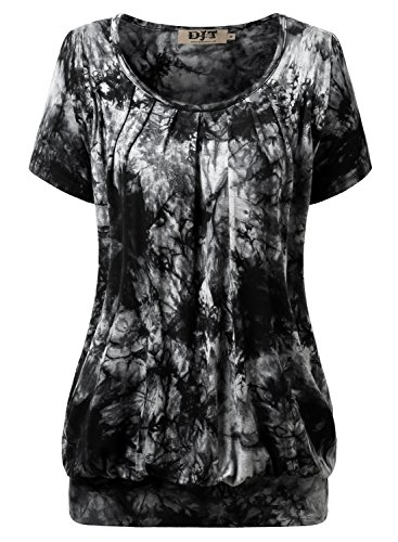 DJT Women's Casual Scoop Neck Pleated Front Short Sleeve Tunic Tops T-shirt Tie Dye Black XX-Large