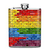 Sdltkhy Brick Wall Colombia and Gay Flags Pocket Hip Flask - 7oz Flasks