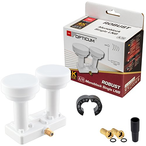 Single Monoblock LNB 0,1dB LNC HB-DIGITAL Set 1 Teilnehmer Direkt 2 Sat Astra 19,2° Hotbird 13° Full HD TV 3D Ultra HD 4K + 1 x Gummitülle + 2 x F-Stecker vergoldet GRATIS dazu