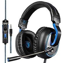 Sades R4 Auriculares Cascos Gaming de Diadema Cerrados con Micrófono 3.5mm Jack Estéreo para Xbox One PS4 PC Mac iPad iPod Portátiles Portátil (Negro+Azul)