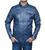 Zacharias Men's Pu Faux Leather Jacket(Zachmen-Leather-Jacket-Blue_Blue_Free Size)