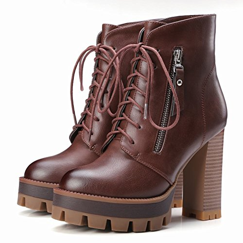 Mee Shoes Damen warm gefüttert chunky heels Plateau Ankle Boots Braun