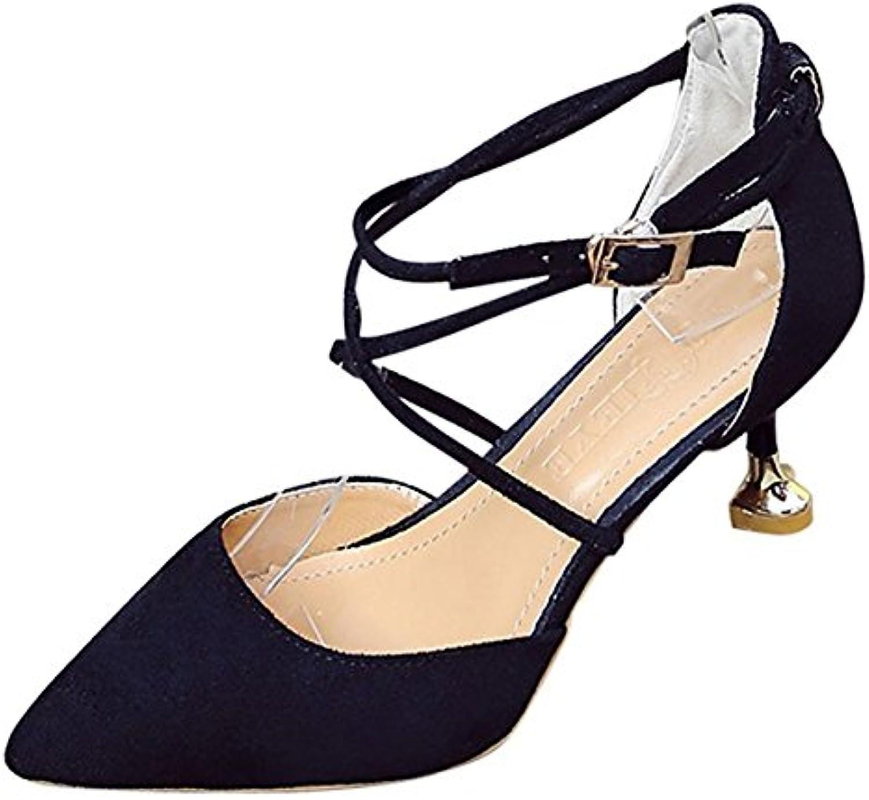 DIMAOL Damenschuhe Gummifeder Fallen Komfort Heels Low Heel Schuhe für Outdoor Schwarz Weiß